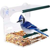 SUQ I OME Window Bird Feeder with Strong Suction Cups and Removable Tray, Outdoor Birdfeeders for Wild Birds, Finch, Cardinal, and Bluebird. Large Outside Hanging Birdhouse Kits, Drain Holes