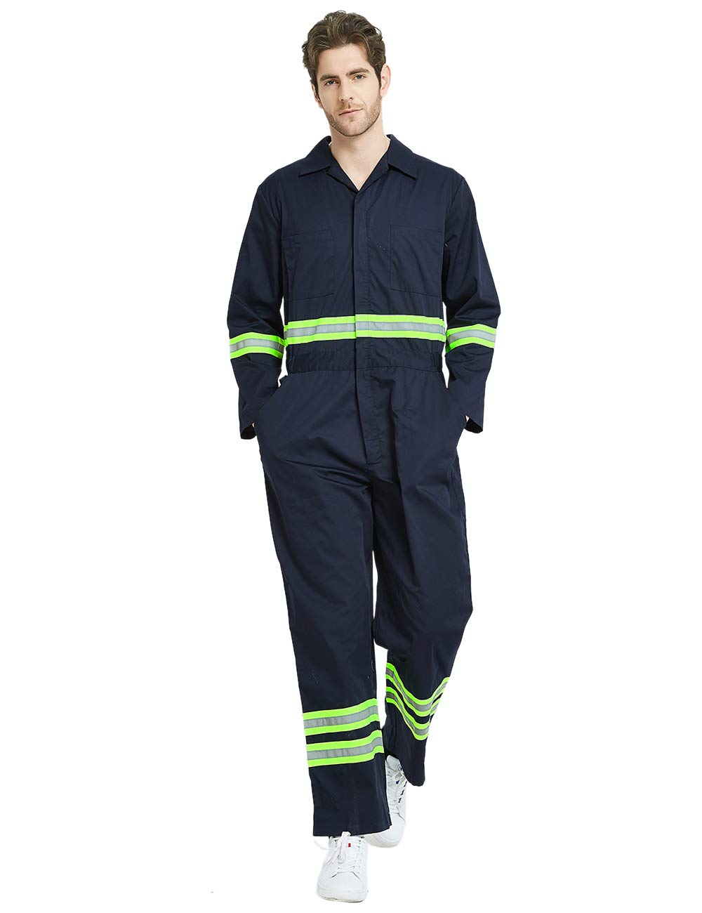 TOPTIE Men's Classic High Visibility Work Coverall with Reflective Trim