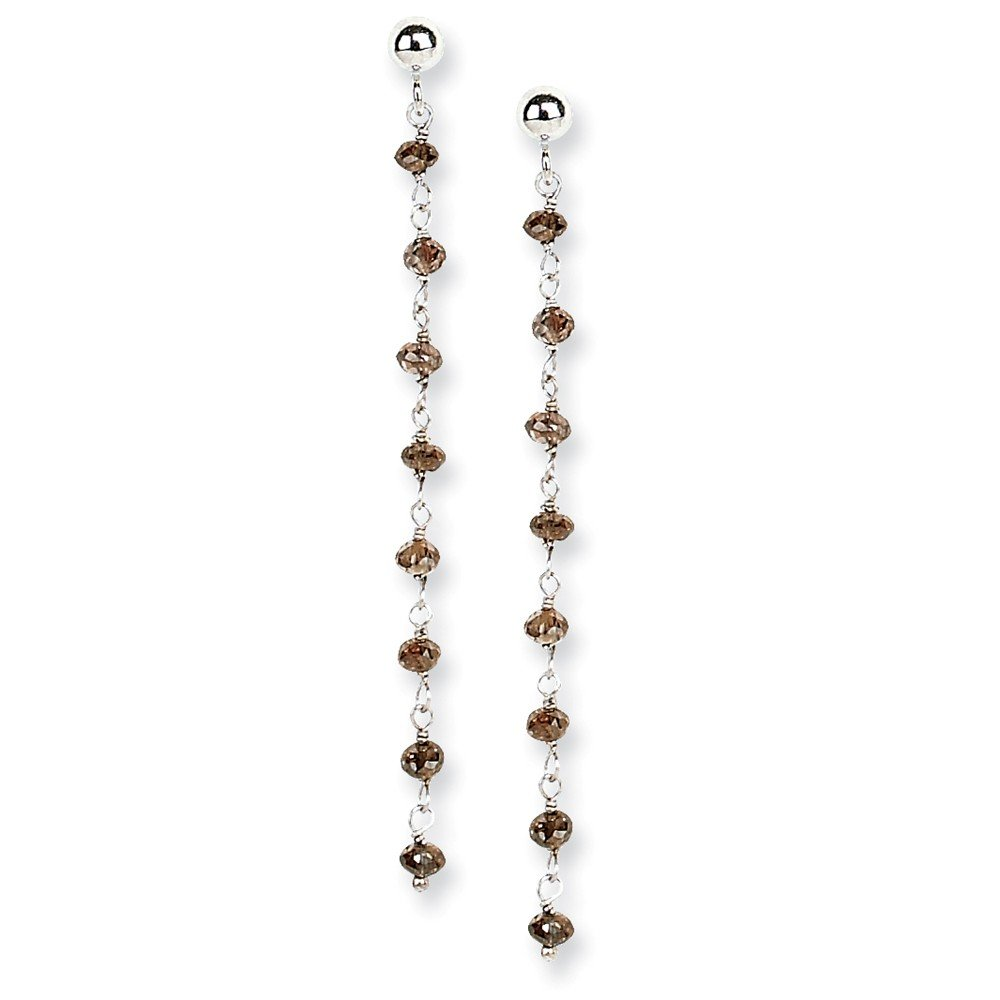 14k White Gold Coffee Brown Diamond Briolette Post Stud Earrings Drop Dangle Fine Jewelry For Women Gifts For Her