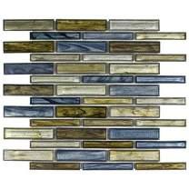 MTO0232 | Modern Linear Blue Green Grey Glass Mosaic Tile