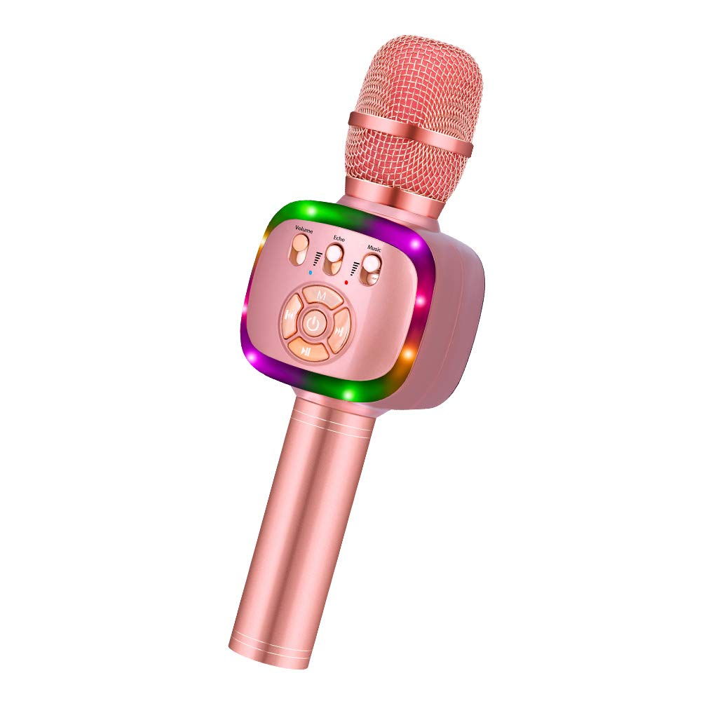 BONAOK Wireless Bluetooth Karaoke Microphone with Dual Sing, LED Lights, Portable Handheld Mic Speaker Machine for iPhone/Android/PC/Outdoor/Birthday/Android/PC/Outdoor/Birthday/Home/Party (Rose Gold)