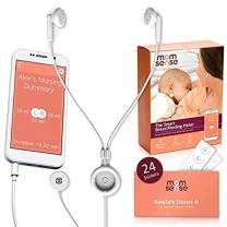 Momsense Baby Breastfeeding Monitor New 2018-24 Stickers & Extended Warranty: Smartphone App for Tracking, Monitoring, and Lactation Recording Meter with Earset and Baby Sensor with Stickers