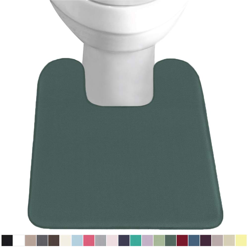 Gorilla Grip Original Thick Memory Foam Contour Toilet Bath Rug 22.5x19.5, Square, Cushioned, Soft Floor Mats, Absorbent Cozy Bathroom Rugs, Machine Wash and Dry, Plush Bath Room Carpet, Hunter Green
