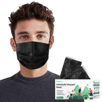 50 Pcs Disposable Face Masks Individually Wrapped,Comfortable Black Face Mask,Breathable Facial Safety Masks