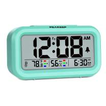 Peakeep Indoor Humidity Temperature Digital Alarm Clock for Bedrooms, Smart Night Light, Battery Operated Small Easy Desk Bedside Gifts Clock (Mint)
