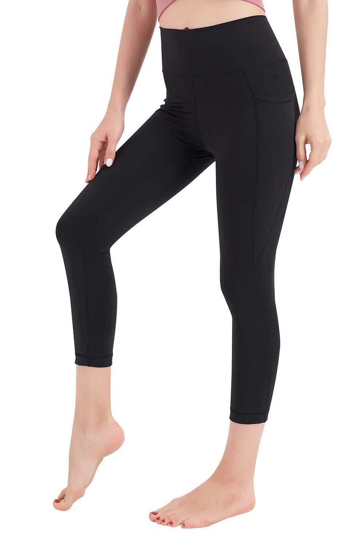 AXESEA Women's High Waist Capri Yoga Pants with Pockets Tummy Control Workout Running Yoga Leggings Athletic Leggings