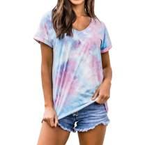 Women Summer Tops Tie-Dye Shirt - Short Sleeve T-Shirts Cute V-Neck Tee Shirts
