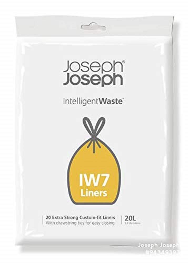 Joseph Joseph Intelligent Waste IW7 General Waste Liner Trash Bags for Totem Compact 20 Liter / 5 Gallon, 20-pack, Gray
