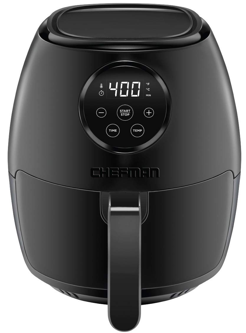 Chefman TurboFry 3.6 Quart Air Fryer Oven w/ Digital Touch Screen, Dishwasher Safe Flat Basket, Healthy Oil-Free Airfryer w/ 60 Minute Timer & Auto Shutoff, BPA-Free, Matte Black, Cookbook Included