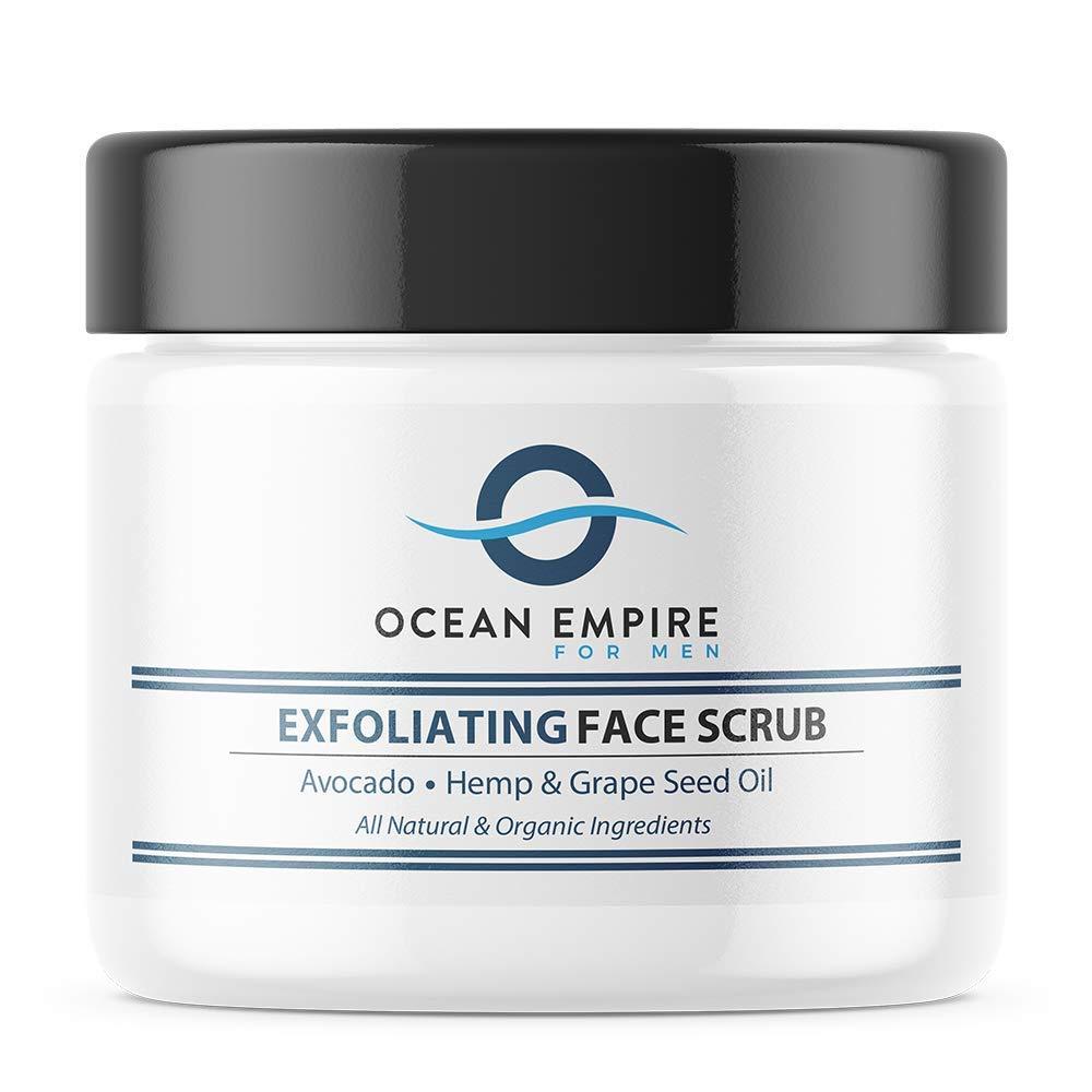 OCEAN EMPIRE Face Scrub for Men   Natural Deep Exfoliating Facial Wash, Remove Dirt, Oil and Blackheads  With Avocado, Jojoba Oil and Hemp   Natural & Organic   2oz