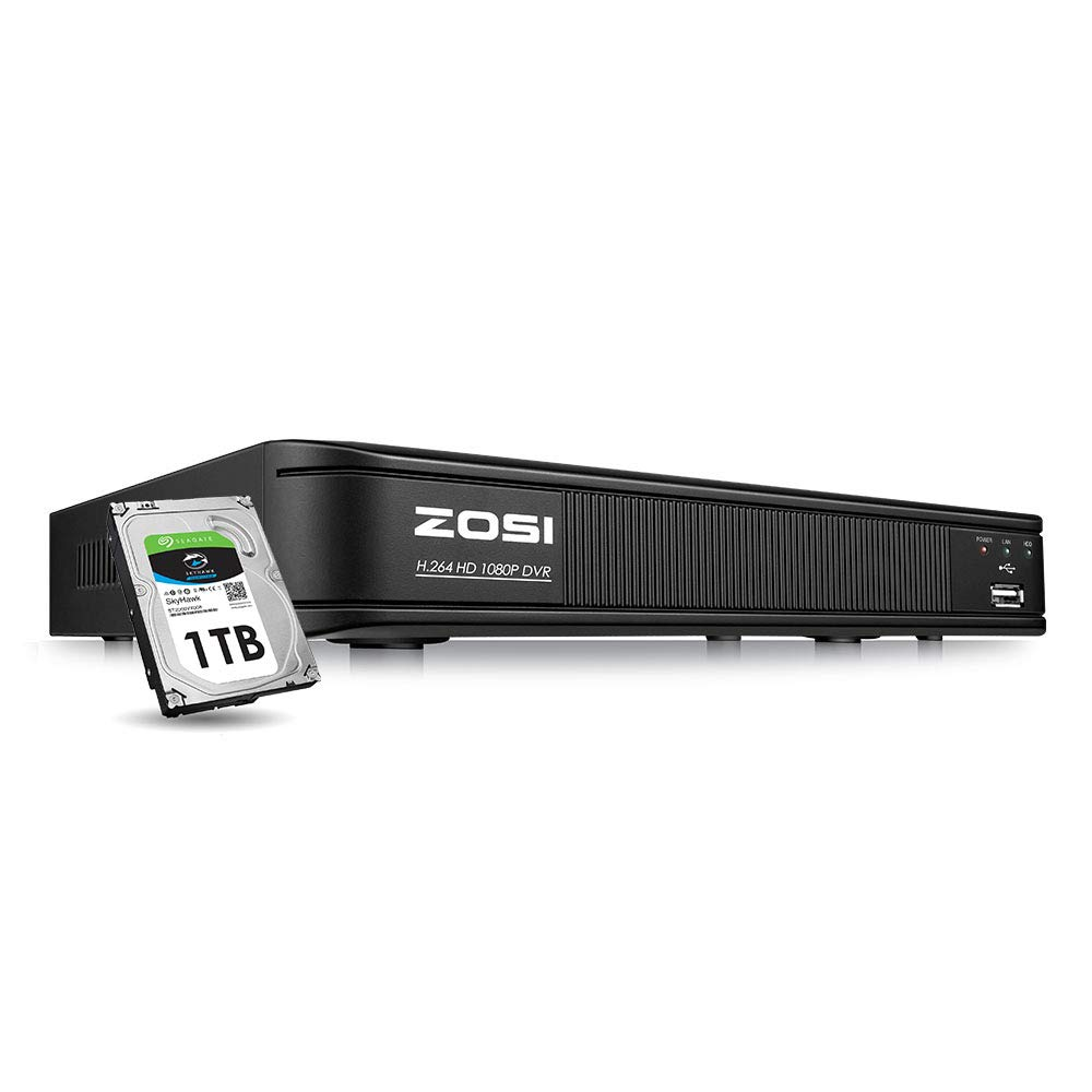 ZOSI 1080p CCTV DVR 8 Channel with Hard Drive 1TB, Hybrid Capability 4-in-1(Analog/AHD/TVI/CVI) Security DVR Reorder for Home Surveillance Cameras, Remote Access, Motion Detection, Alert Push
