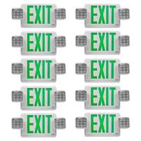 Visionis 10 Pack FPC-7397 VIS-ESGWEL 6 Inch - Green Combo Exit Sign + Emergency Light - 90 Minute Battery Backup - UL924 Listed