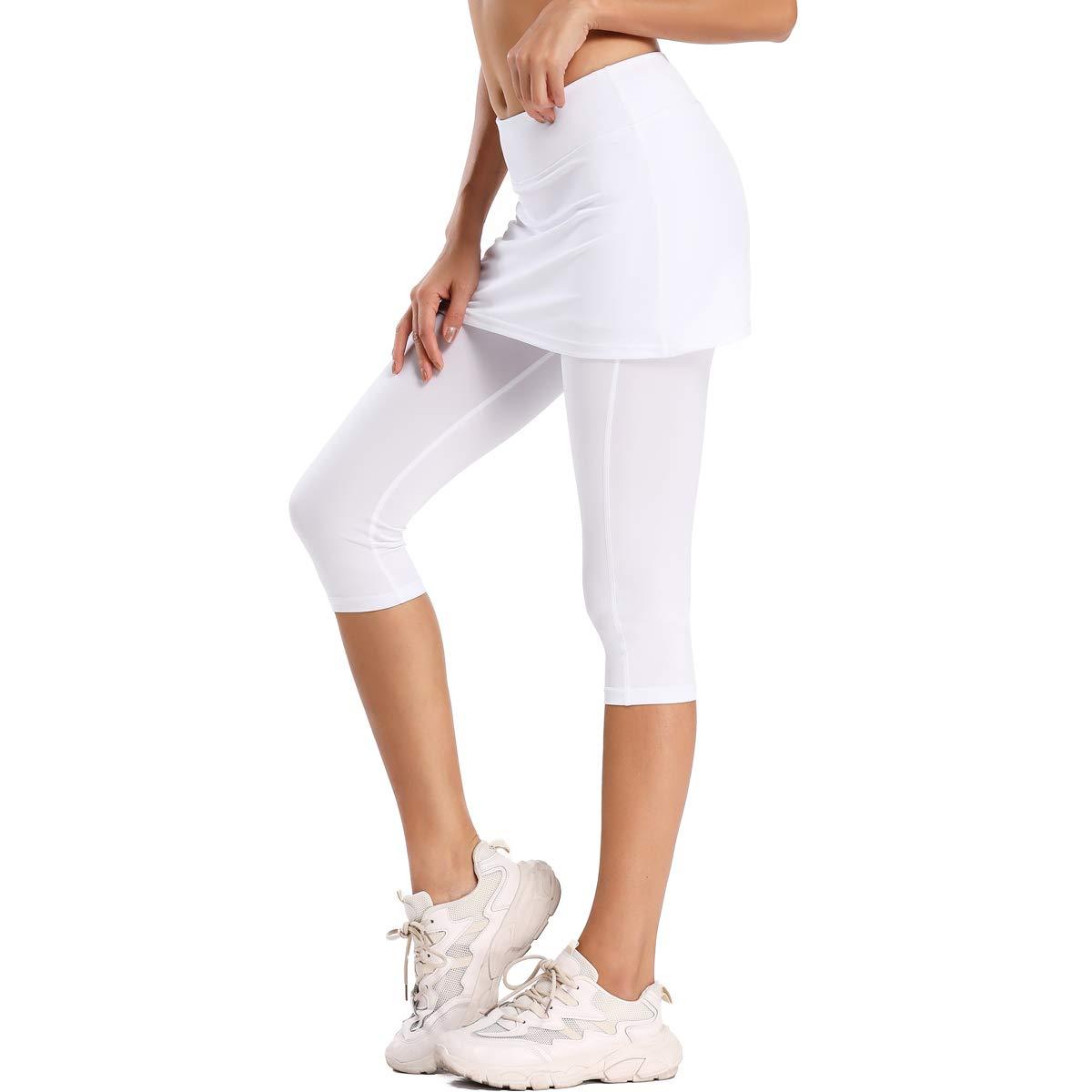 Ultrafun Women S Upf 50 Capri Skirted Leggings Tights Active Tennis Skirt With Pockets