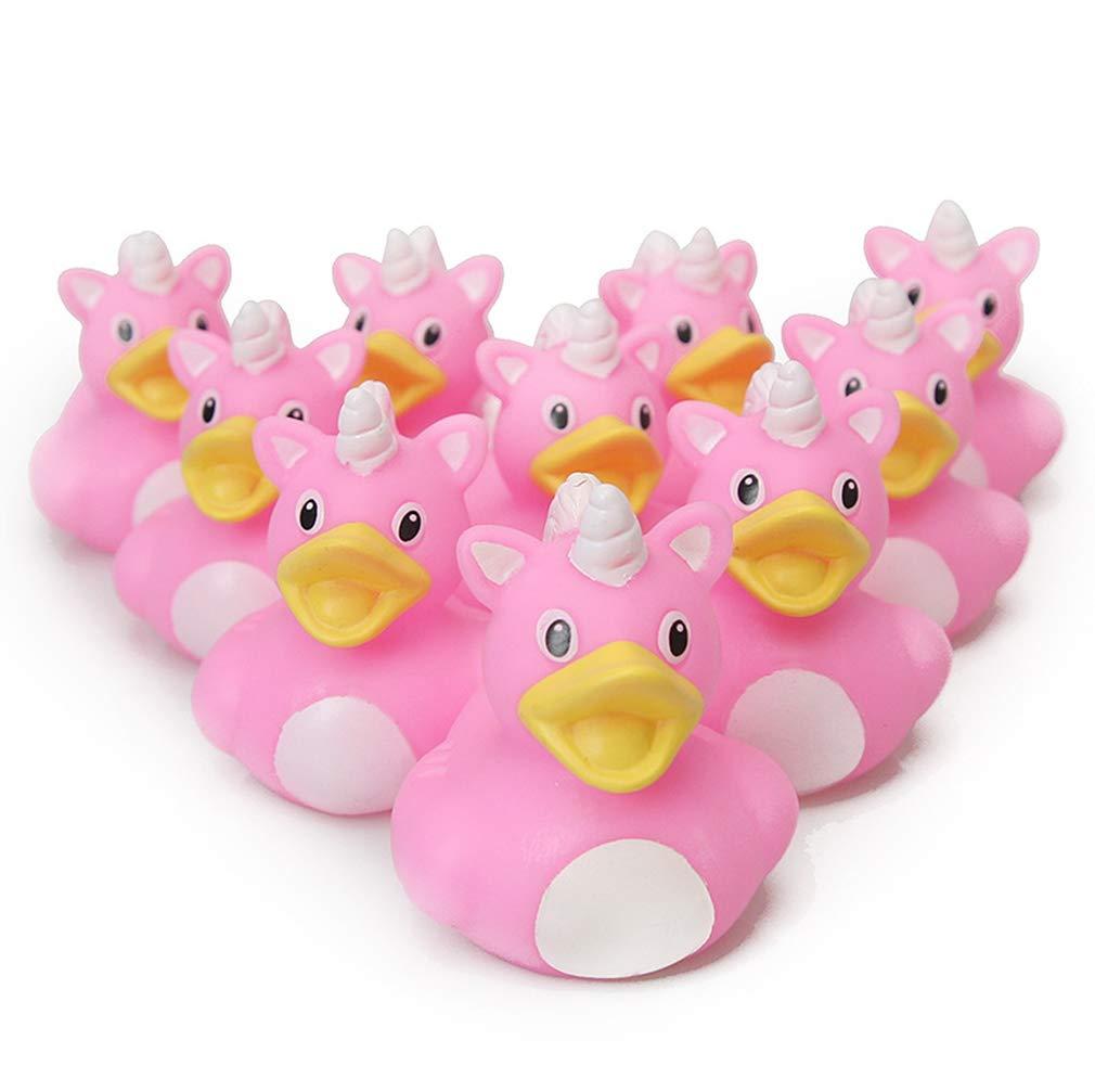 ESALINK Bath Toys Duck 1.96'' Pink Unicorn Duck Mini Combination Style Mini Duck Baby Bath Rubber Duck for Girls Kids Birthday Party Favors 10Pcs