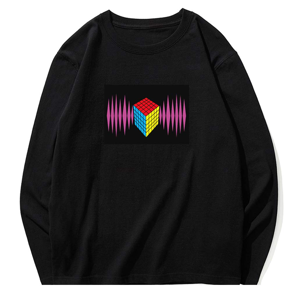 LED Flashing Sound Activated Fashion T-Shirt Night Club Wear Tee for Teenager Boys Girls