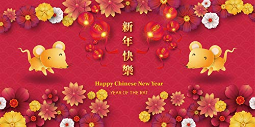 Baocicco 4x2ft Happy Chinese New Year Backdrop Chinese Lunar Calendar 2020 Year Cartoon Mice Good Luck Spring Blossom Photography Background Chinese New Year Celebration Banner Photo Booth Prop