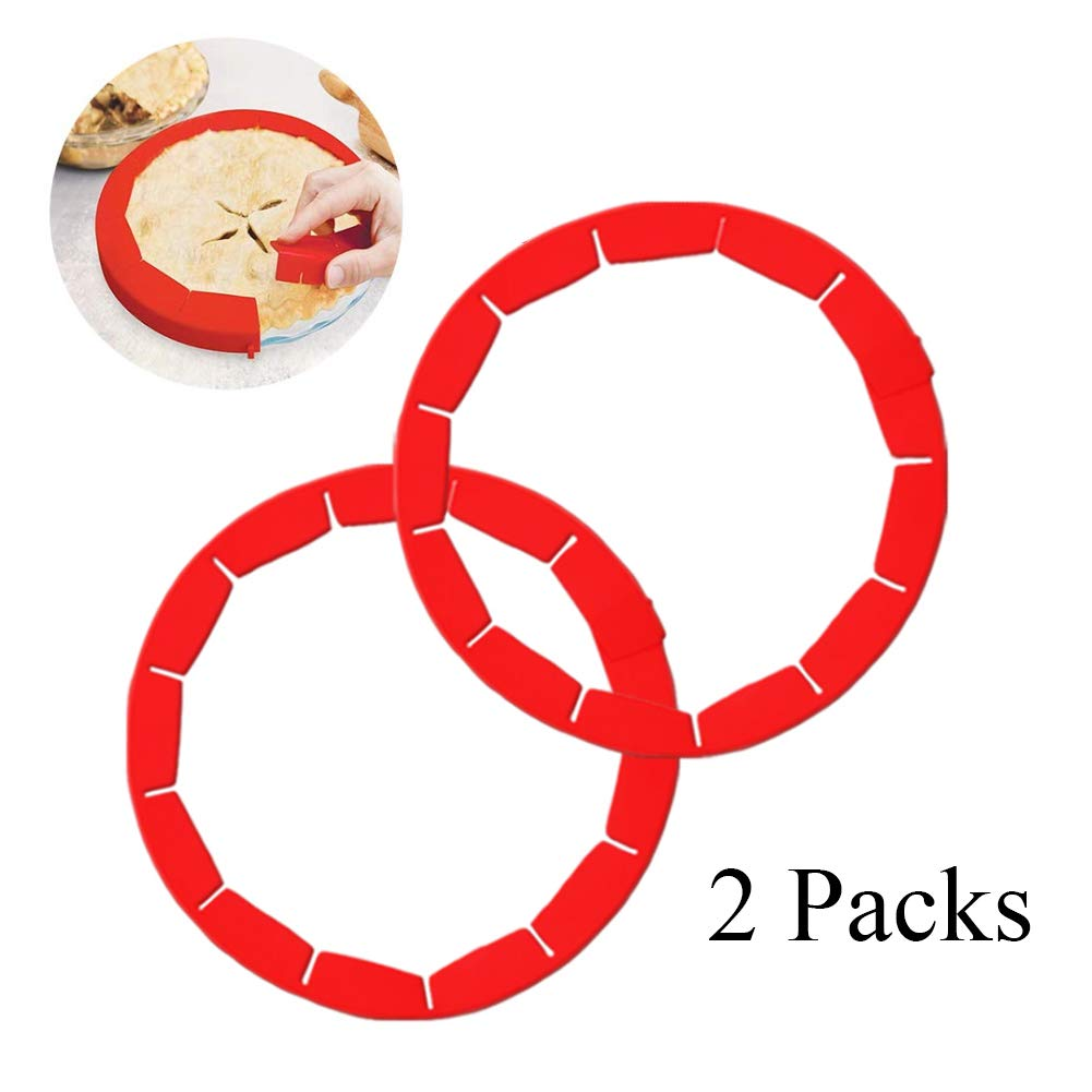 Pie Crust Shield Adjustable Silicone Pie Covers for Baking Bake Pie Crust Protector Shields Cover Kitchen Tool for Pie Pizza, Fit 8-11.4 Inch Pies (2, Red)