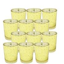"Ms Lovely Gold Mercury Glass Votive Tealight Candle Holders - Set of 12-2.5"" Tall"