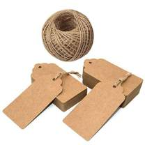 Gift Tags,100 Pcs Kraft Paper Tags for Wedding,Brown Rectangle Craft Hang Tags with 100 Feet Jute Twine