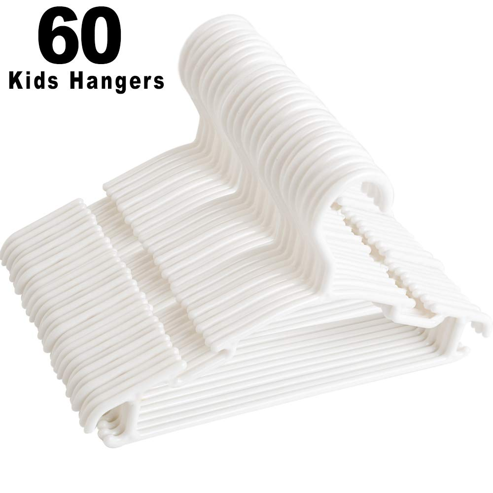 Kids Hangers,Baby Clothes Hangers Childrens White Plastic Infant Hangers for Kids Clothes Toddler Junior Hangers 60 Pack