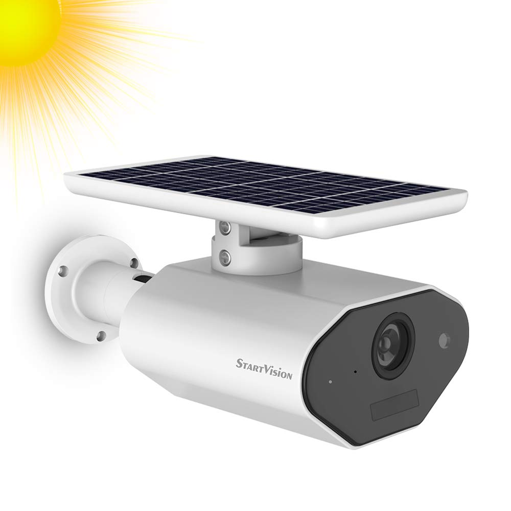 Solar Battery Powered Security Camera, StartVision Outdoor 2.4GHz WiFi IP Camera with Motion Detection Night Vision, Wireless Outdoor Security Camera Built in Battery, IP66 Waterproof Weatherproof