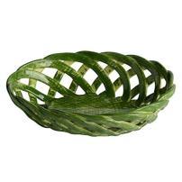 "Handmade Italian Green Ceramic Basket (5.25"" x 4"") | Intrecci Collection by Modigliani – Small, Hand-Painted Ceramic Woven Home Décor Baskets | Perfect Italian Bon Bon Basket Jewelry Dish"