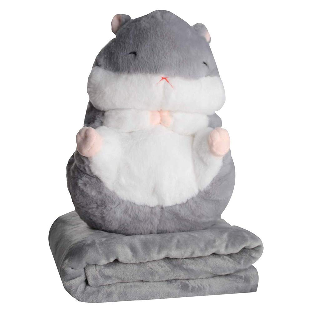 AIXINI 3 in 1 Cute Plush Hamster Throw Travel Pillow with Folded Blanket Set Cartoon Stuffed Animal Toys Multifunctional Decorative Travel Nap Quilt 2 in 1 for Kids, Adults (Grey)