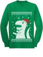 Big Trex Santa Ugly Christmas Sweater Style - Funny Long Sleeve Kids T-Shirt