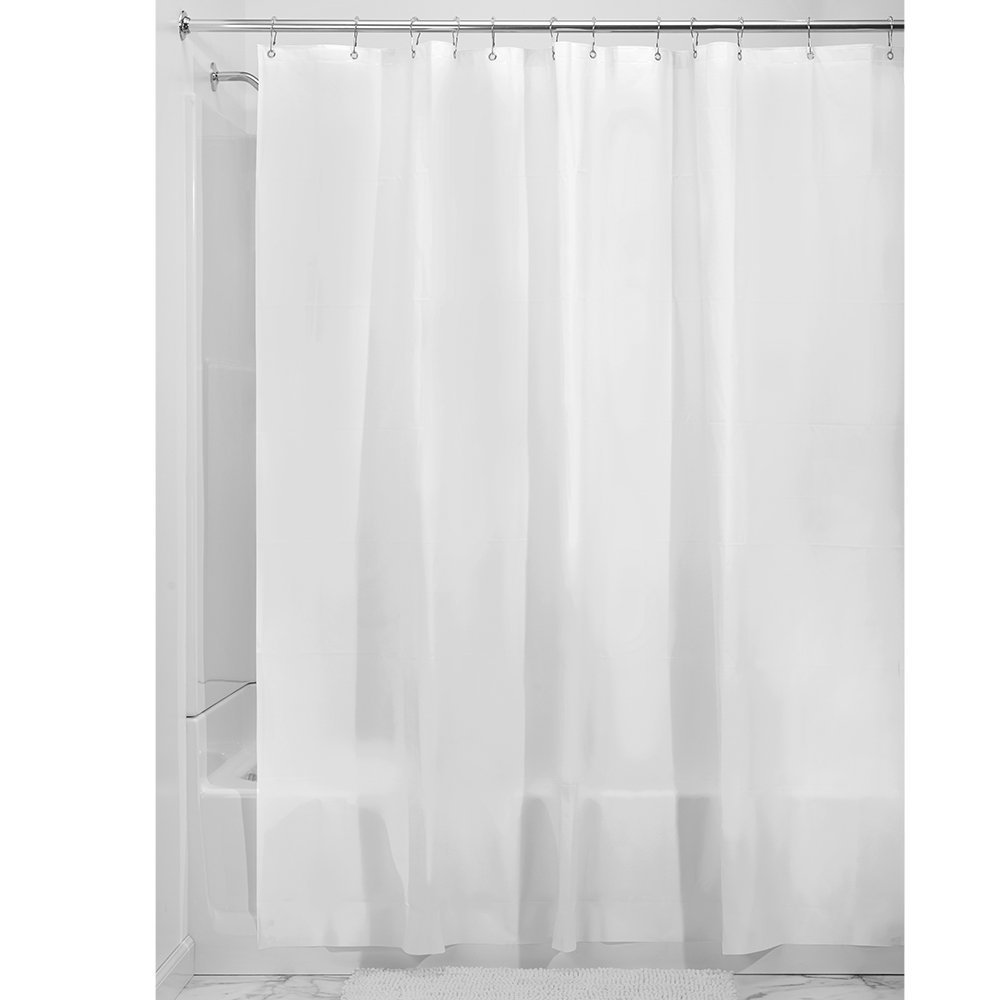 iDesign EVA Plastic Shower Curtain Liner, Mold and Mildew Resistant Plastic Shower Curtain for use Alone or With Fabric Curtain, 54 x 78 Inches, Frost