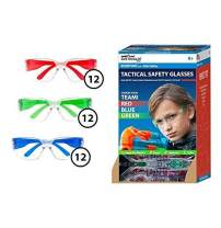 SAFE HANDLER Kids Protective Safety Glasses | Impact and Ballistic Resistant Lens, Clear Polycarbonate Lens Color Temple, Child Youth Size, Red, Blue & Green (Case of 432 PAIRS)