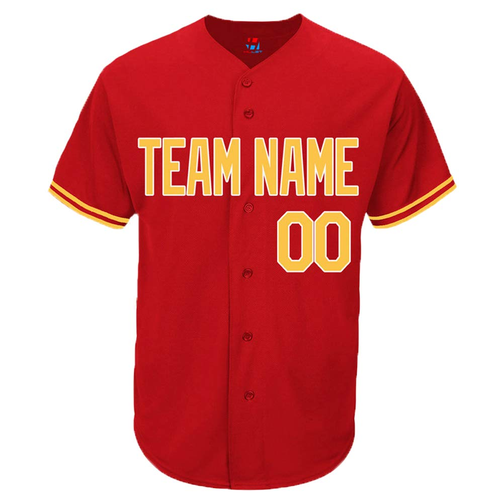 Pullonsy Red Custom Baseball Jersey for Men Women Youth Practice Embroidered Name & Numbers S-8XL - Design Your Own