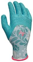 Digz Long Cuff Stretch Knit Garden Gloves with Full Finger Latex Coating, Large