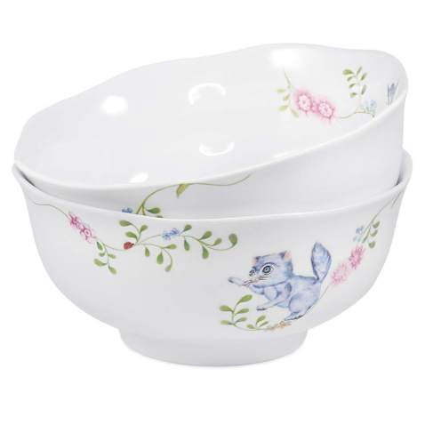 77L Porcelain Cereal Bowl, [Set of 2, 20.94 FL OZ (620 ML)] White Ceramic Cereal/Soup Bowl - Flower Pattern Serving Bowl for Soup, Ice Cream, Salad, Oatmeal and More (6.2 Inches Diameter)