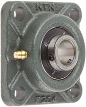 """NTN UCF204D1 Light Duty Flange Bearing, 4 Bolts, Setscrew Lock, Regreasable, Contact and Flinger Seals, Cast Iron, 200mm Bore, 2-33/64"""" Bolt Hole Spacing Width, 3-3/8"""" Height, 1495lbf Static Load Capacity, 2878lbf Dynamic Load Capacity"""