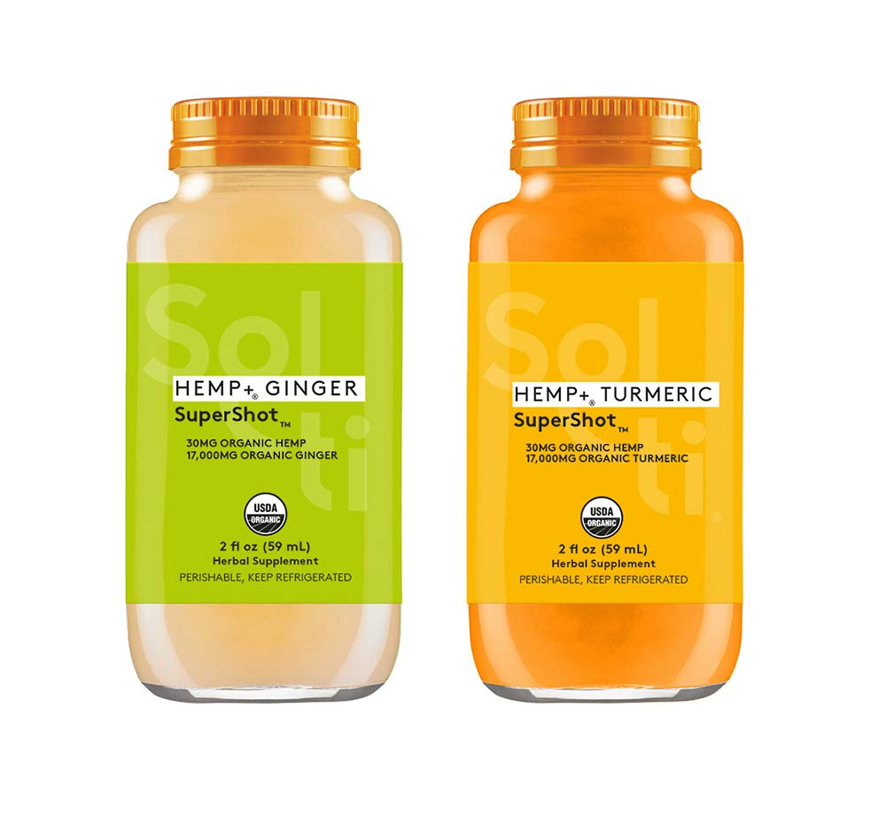 Sol-ti HEMP+ SuperShot Variety Pack - Organic Cold Pressed Turmeric and Ginger Shots, Natural Revitalizing Drink, 24PK