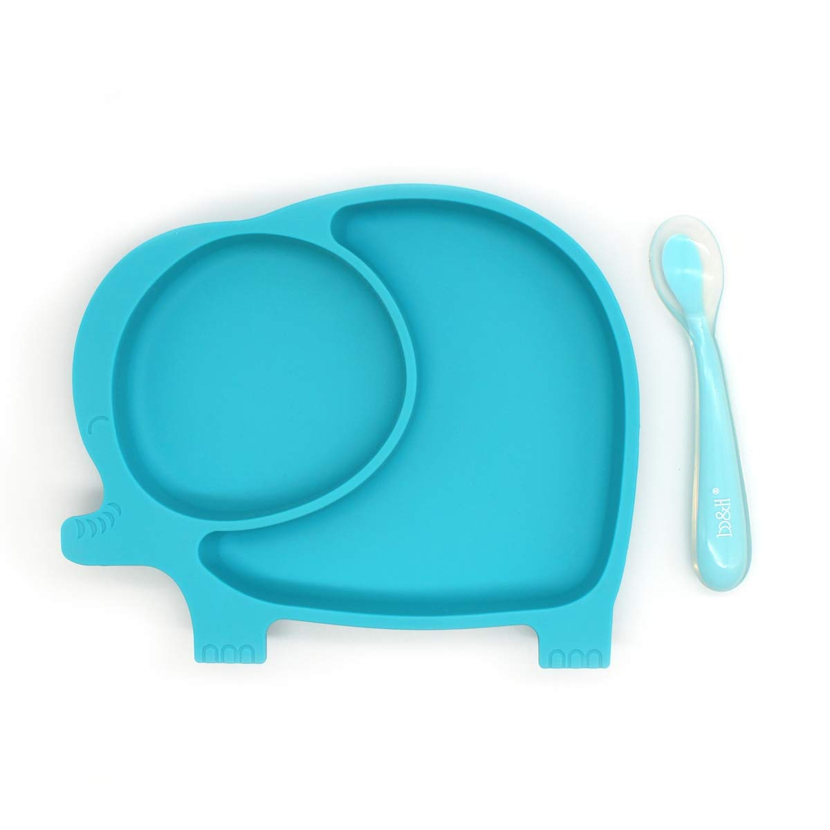 Silicone Suction Plate for Toddlers,Anti-Slip Baby Silicone Placemat with a Baby Spoon, Kids Toddler Divided Plates,BPA Free,Fits Most Highchair Trays (Blue)