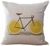 ChezMax Linen Cotton Office Chair Seat Cushion Cover for Sofa Couch Throw Pillow Case Women Yoga Yellow Lemon 18'' X 18''