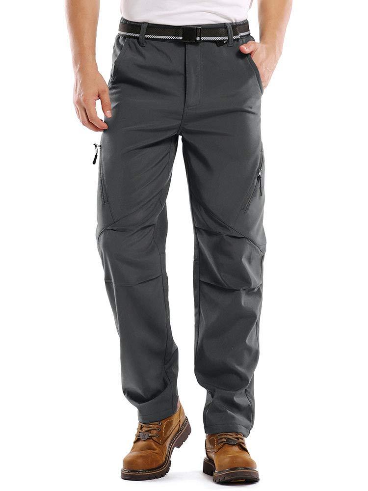 Jessie Kidden Men's Outdoor Fleece Lined Hiking Ski Snow Cargo Pants Soft Shell Insulated Water Repellent