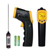 Non-Contact Digital Laser Infrared Thermometer Meat Thermometer Temperature Gun -58℉~ 932℉ (-50℃ ~ 500℃) Temperature Probe for Cooking/Air/Refrigerator