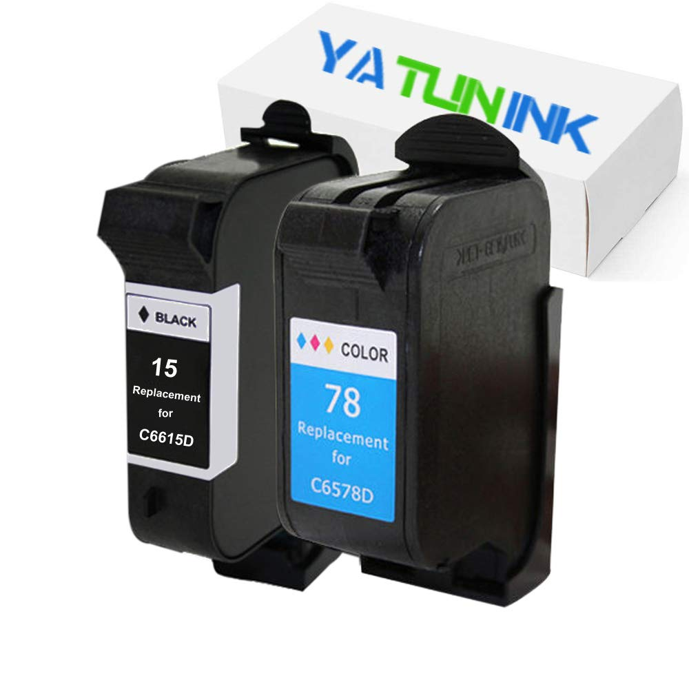 YATUNINK Remanufactured Ink Cartridge Replacement for HP 15 78 Ink Cartridges 15 78 (C6615D/C6578A) PSC 750 xi 950 950xi Printer (Black,Color 2Pack)