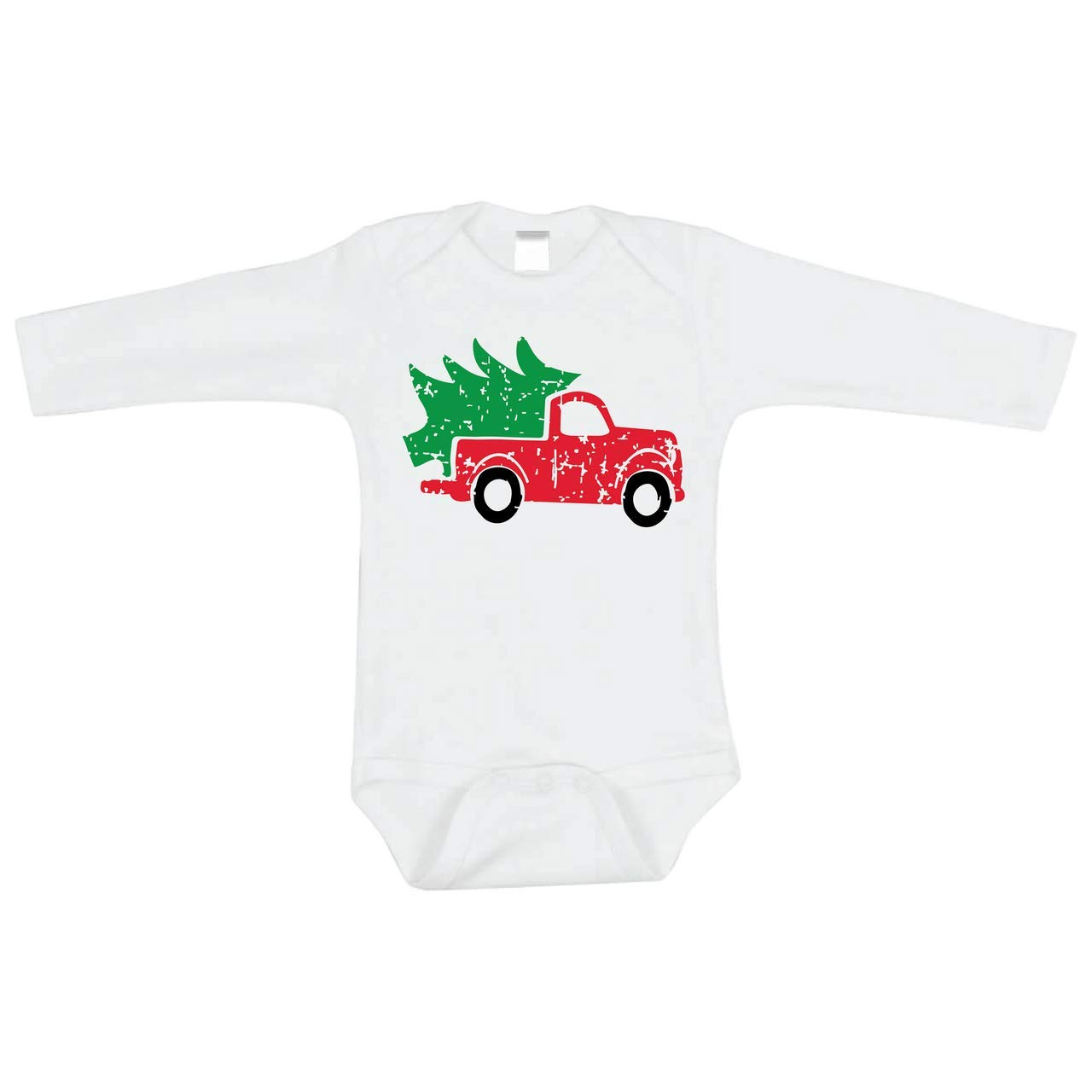 Bump and Beyond Designs Infant and Baby Vintage Truck Christmas Bodysuit Boy and Girl Outfit