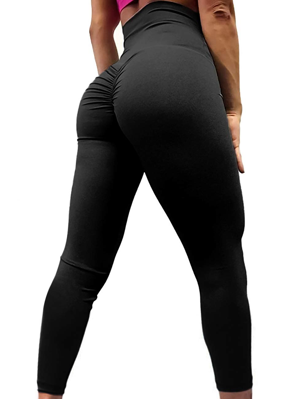 A AGROSTE Women's Yoga Pants High Waist Scrunch Ruched Butt Lifting Workout Leggings Sport Fitness Gym Push Up Tights
