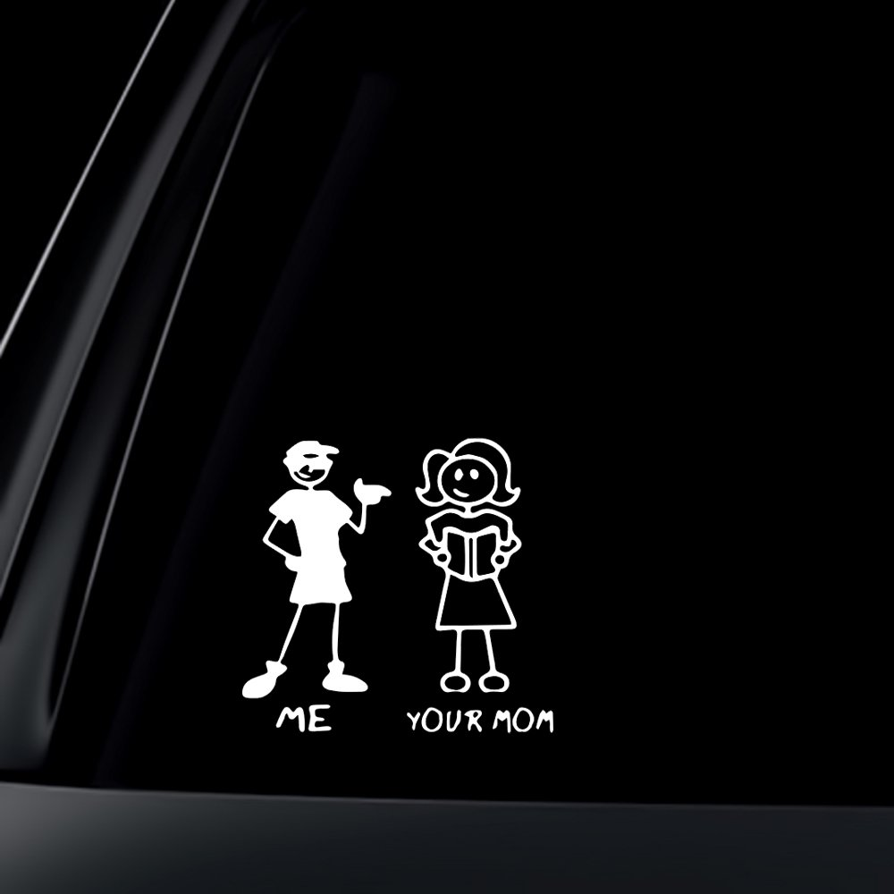 ME and YOUR MOM - funny stick figure family person people window sticker/decal for car truck or van