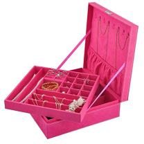 Opret Jewelry Organizer with Lock, Two-Layer Lint Jewelry Box Jewelry Storage Case for Girls and Women, for Valentine's Day, Birthday and Anniversary