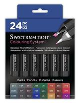 Crafter's Companion Markers-24 Pc Spectrum Noir Colouring System Alcohol Marker Dual Nib Pens Box Set-Darks-Pack of 24