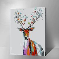 "MADE4U [Deer Series] [20""] [Wood Framed] Paint by Numbers Kit with Brushes and Paints (Deer THSJ009-XL)"