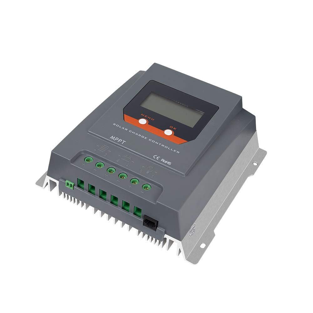 HQST 30A 12/24V MPPT Solar Charge Controller with LCD Display, Compatible with AGM, Gel, Lithium, Liquid Batteries