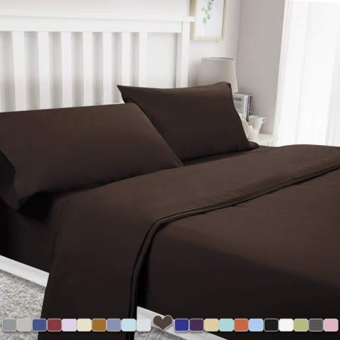 BYSURE 4 Piece Luxury Bed Sheet Set - Soft Durable Brushed Microfiber 1800 Thread Count Bedding Sheets with 14 Inch Deep Pockets,Wrinkle & Fade Resistant(Full,Chocolate)