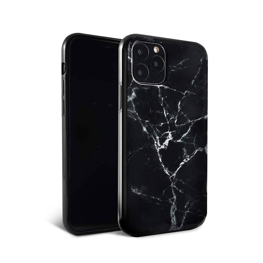 FELONY CASE iPhone 11 Pro Max Case - Black Polished Marble - 360° Shock Absorbing, Anti-Scratch Screen Protector – Stylish Phone Case for Men & Women