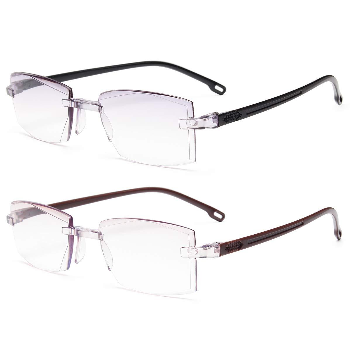 AOO 2-Pack Blue Light Blocking Reading Glasses for Women Men,Readers Anti Glare Filter UV Lightweight TR90 Frame Eyeglasses